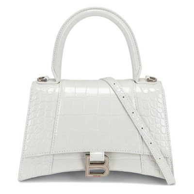 BALENCIAGA CROCODILE EMBOSSED HOURGLASS TOP HANDLE SMALL WHITE IN CALFSKIN LEATHER WITH GOLD-TONE