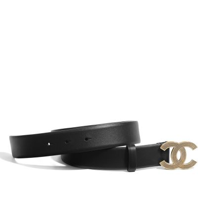 CHANEL CC BELT GOLD-TONE BLACK IN CALFSKIN WITH GOLD-TONE