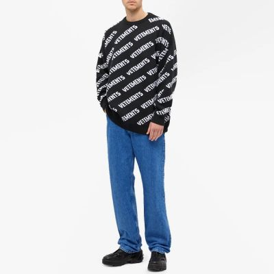 VETEMENTS ALL OVER PRINT CREW KNIT